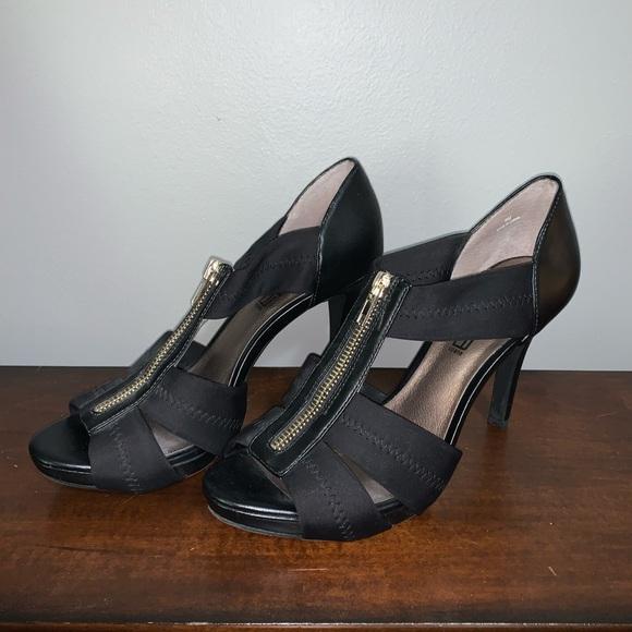 Black Zippered Strappy Heels